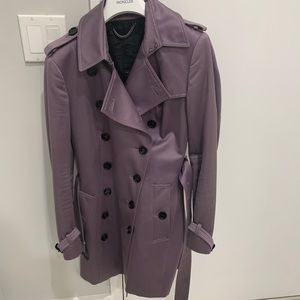 Burberry silk satin trench coat, size 44, lilac
